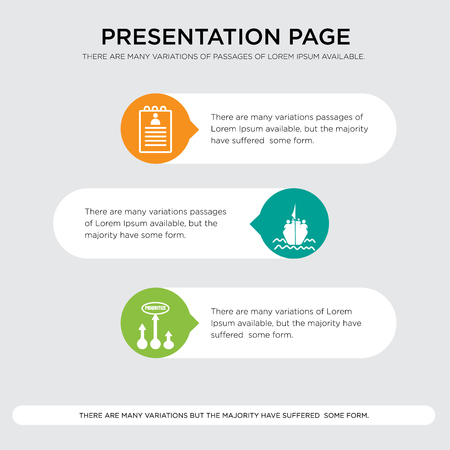 prioritize, refugee, roster presentation design template in orange, green, yellow colors with horizontal and rounded shapes Vector illustration.
