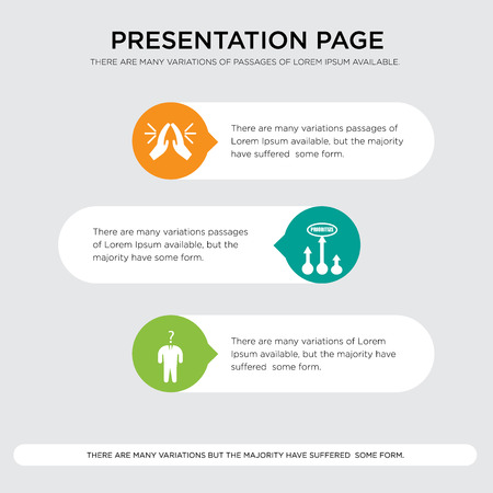 consider, prioritize, folded hands presentation design template in orange, green, yellow colors with horizontal and rounded shapes Vector illustration. Illustration
