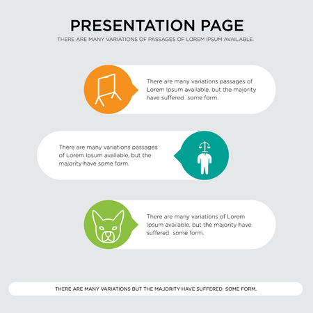 presentation design template in orange, green, yellow colors with horizontal and rounded shapes Vector illustration.