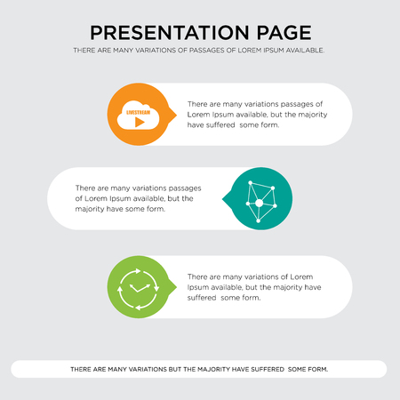 real time, antioxidant, live stream presentation design template in orange, green, yellow colors with horizontal and rounded shapes Vector illustration.