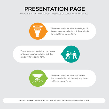 sprinkler, high five, marketing funnel presentation design template in orange, green, yellow colors with horizontal and rounded shapes Illusztráció