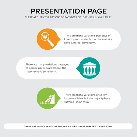 waterfall, bank branch, inquiry presentation design template in orange, green, yellow colors with horizontal and rounded shapes