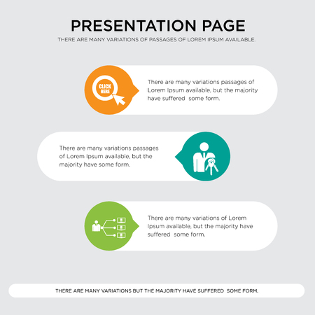 program management, ownership, click here presentation design template in orange, green, yellow colors with horizontal and rounded shapes 일러스트