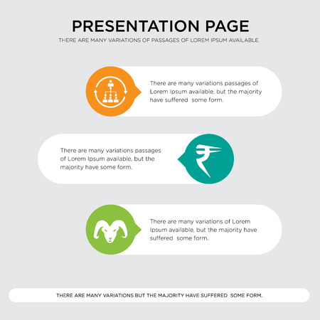 ram, rupees, silence presentation design template in orange, green, yellow colors with horizontal and rounded shapes