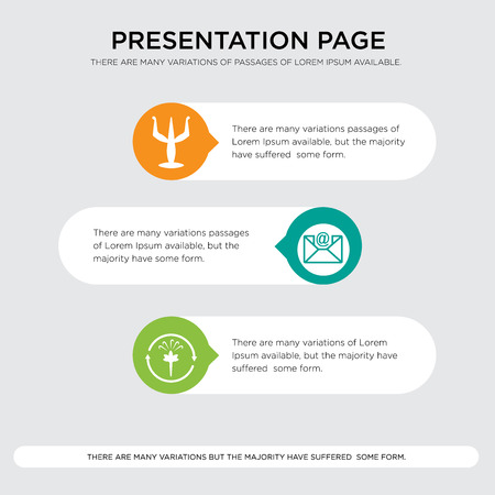 fresh air, email, psi presentation design template in orange, green, yellow colors with horizontal and rounded shapes Vector illustration.