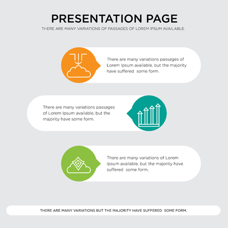 Cloud security, increasing arrows, Data migration, cloud backup presentation design template in orange, green, yellow colors with horizontal and rounded shapes Stock Illustratie