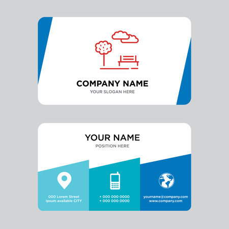 Park business card design template, Visiting for your company, Modern Creative and Clean identity Card Vector Illustration Çizim
