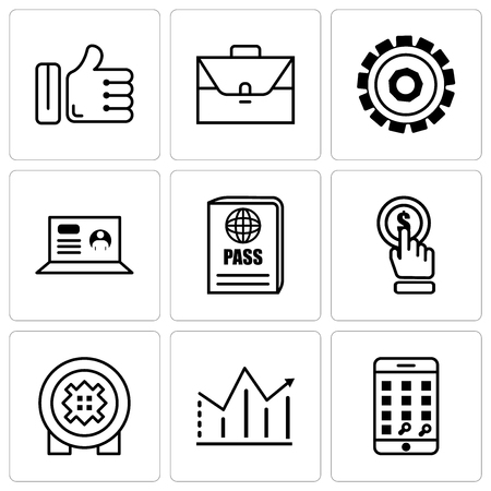 Set Of 9 various editable icons