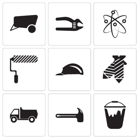 Set Of 9 simple editable icons such as color bucket, hammer, truck, tie, header, roller, Chemical, adjustable spanner, dray, can be used for mobile, web UI