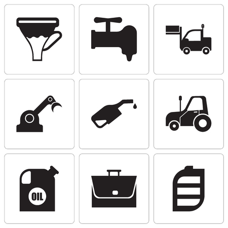 Set Of 9 simple editable icons such as battery, bag, oil container, autotruck, pump, jenny, lorry, crane, funnel, can be used for mobile, web UI
