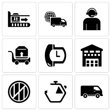 Set Of 9 simple editable icons such as Black delivery small truck side view, Chronometer, Wood package box of square shape for delivery, Boxes piles sto inside a garage for delivery, Phone auricular