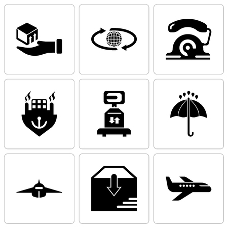 Set Of 9 simple editable icons such as Air transport, Package delivery, Airplane frontal view, Black opened umbrella, Delivery scale with a box, Ocean transportation, telephone, International Иллюстрация