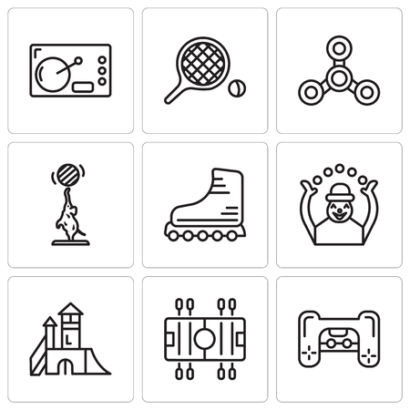 Set Of 9 simple editable icons such as Playstation, Soccer, Playground, Monkey, Rollers, Elephant, Drone, Table tennis, Coffee, can be used for mobile, web UI Illustration
