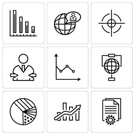 Set Of 9 simple editable icons such as Page setting, Bars chart, Pie graphic with four areas, Globe Analytics, User exchange, 3d data analytics, Global user, Variable bars data, can be used for Çizim