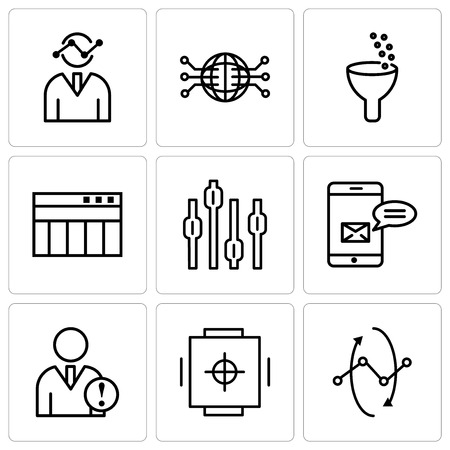 Set Of 9 simple editable icons such as Data analytics interface circles, Safe box, Data analytics, Data analytics bars, Box plot chart, Table for data, Data analytics, Globe Connected Circuit, Human