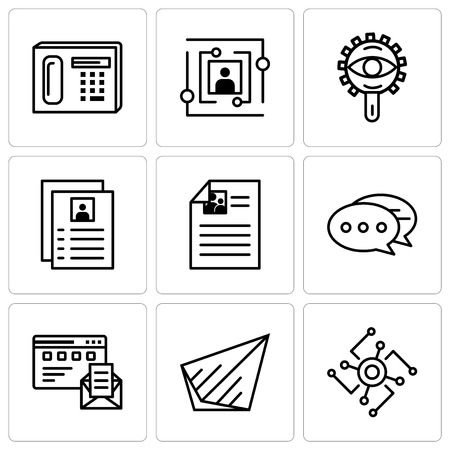 Set Of 9 simple editable icons such as Cpu, Send, Browser and mail, Chat, Flyer, View, User, Phone, can be used for mobile, web UI