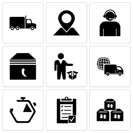 Set Of 9 simple editable icons such as Three sto boxes for delivery, Verification of delivery list clipboard, Chronometer, International logistics delivery truck, Person standing beside a delivery