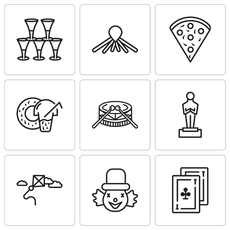 Set Of 9 simple editable icons such as Cards, Clown, Kite, Oscar, Drums, Donut, Confetti, Balloon dog, Glasses, can be used for mobile, web UI
