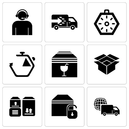 Set Of 9 simple editable icons such as International logistics delivery truck, Locked package, Packages storage for delivery, Package for delivery, Delivery package box with fragile content Vector illustration. Banque d'images - 99680788