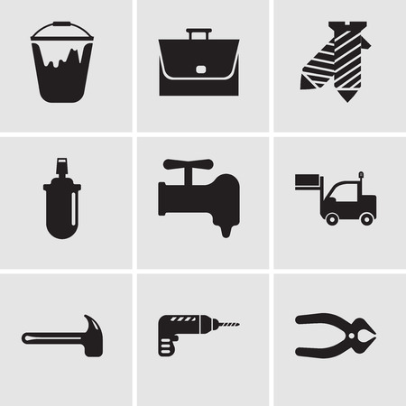 Set Of 9 simple editable icons such as nipper, drill, hammer, lorry, crane, gas can, tie, bag, colour bucket, can be used for mobile, web UI