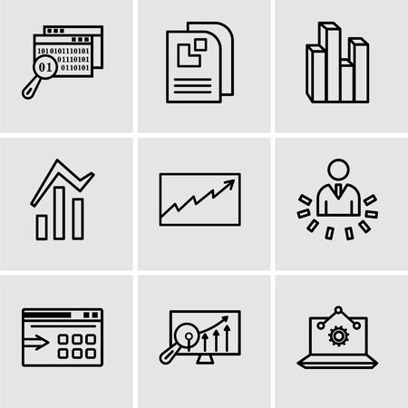 Set Of 9 simple editable icons such as Laptop Analysis, Analytics Settings, Data export with an arrow, User data analytics, Data analytics, Bars and data analytics, Stream graphic, Data page, Data Ilustração