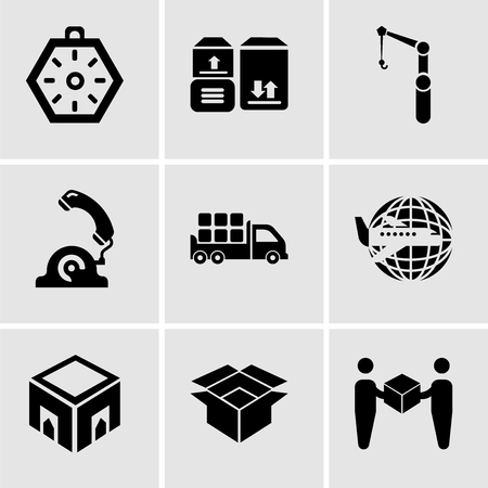 Ensemble de 9 icônes modifiables simples telles que livreur donnant une boîte à un récepteur, emballage pour livraison, boîte de livraison, avion autour de la Terre, stockage de boîtes pour livraison à l'intérieur d'une boîte de camion de l'arrière Banque d'images - 99683430