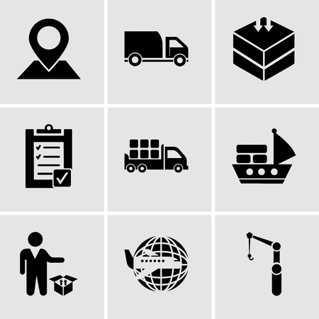 Set Of 9 simple editable icons such as Crane, Airplane around Earth, Person standing beside a delivery box, Sea ship with containers, Boxes storage for delivery inside a truck box from back view, Ilustração