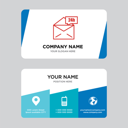 Mail 24 hours business card design template, Visiting for your company, Modern Creative and Clean identity Card Vector Illustration