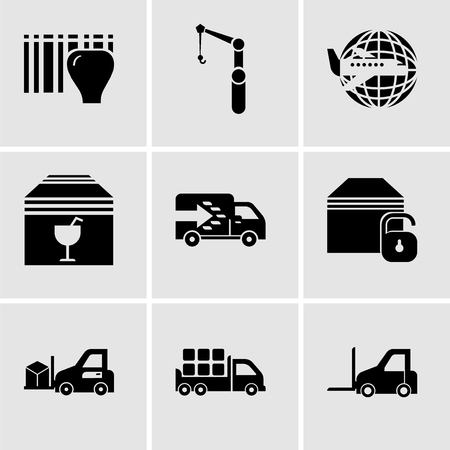Set Of 9 simple editable icons such as Logistics transport, Boxes storage for delivery inside a truck box from back view, Delivery transportation machine, Locked package, Logistics truck, Delivery