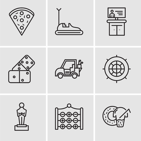 Set Of 9 simple editable icons such as Donut, Tic tac toe, Oscar, Roulette, Golf car, Domino, Tv, Bumper car, Confetti, can be used for mobile, web UI Stock Vector - 99683758