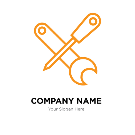 Screwdriver and wrench company logo design template, Business corporate vector icon Illustration