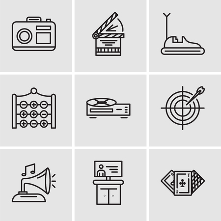 Set Of 9 simple editable icons such as Casino, Tv, Gramphone, Darts, Video recorder, Tic tac toe, Bumper car, Clapperboard, Camera, can be used for mobile, web UI