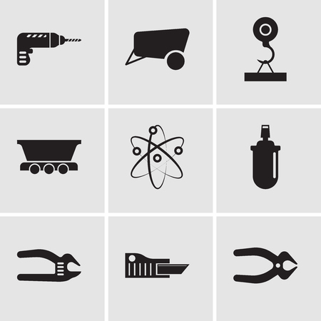 Set Of 9 simple editable icons such as nipper, cutter, adjustable spanner, gas can, Chemical, freight wagon, load crane, dray, drill, can be used for mobile, web UI