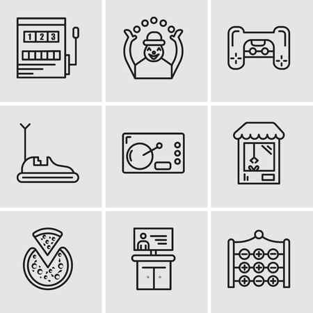 Set Of 9 simple editable icons such as Tic tac toe, Tv, Pizza, Machine, Coffee, Bumper car, Playstation, Monkey, Gaming, can be used for mobile, web UI Çizim