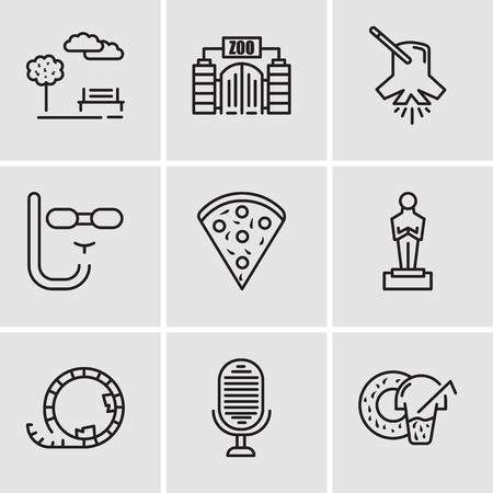 Set Of 9 simple editable icons such as Donut, Microphone, Roller coaster, Oscar, Confetti, Diving mask, Lighting, Zoo, Park, can be used for mobile, web UI Stock Vector - 99684084