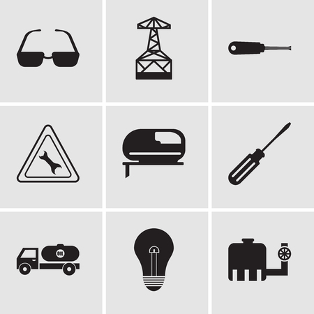 Set Of 9 simple editable icons such as tipper, bulb, tipper, screwdriver, jigsaw, wrench, turn-screw, oil derrick, sunglasses, can be used for mobile, web UI