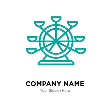 Ferris wheel company logo design template, Business corporate vector icon