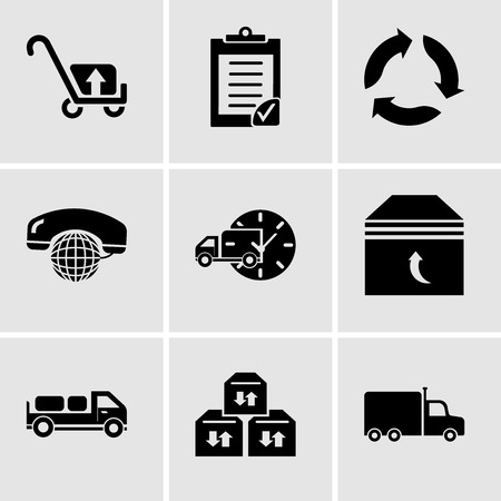 Set Of 9 simple editable icons such as Frontal truck, Three sto boxes for delivery, Delivery truck with packages behind, Box of packing for delivery, Delivery truck with circular clock, International