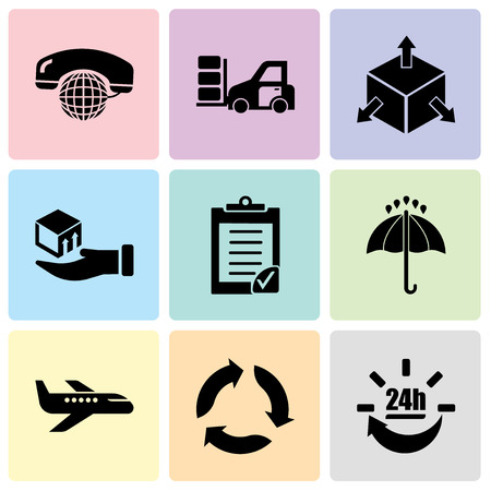 Set Of 9 simple editable icons such as 24 hours delivery, Triangular arrows, Air transport, Black opened umbrella, Clipboard verification, Delivery box on a hand, Delivery cube box package with four