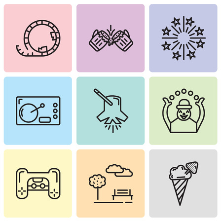 Set Of 9 simple editable icons such as Ice cream, Park, Playstation, Monkey, Lighting, Coffee, Fireworks, Beer, Roller coaster, can be used for mobile, web UI