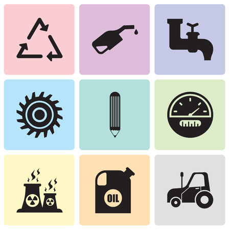 Set Of 9 simple editable icons such as autotruck, oil container, fabric, speedometer, pencil, saw blade, faucet, pump, triangle, can be used for mobile, web UI