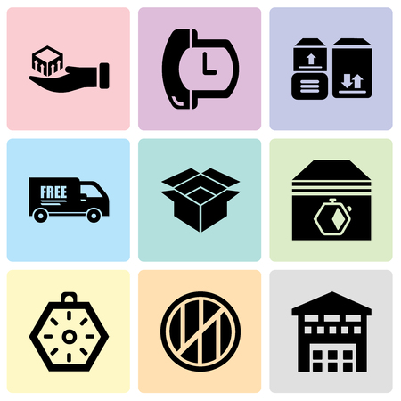 Set Of 9 simple editable icons such as Boxes piles sto inside a garage for delivery, Wood package box of square shape for delivery, Localization orientation tool of compass with cardinal points, Up Ilustração