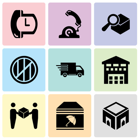 Set Of 9 simple editable icons such as Delivery box, Delivery package with umbrella, Delivery worker giving a box to a receiver, Boxes piles sto inside a garage for delivery, Logistics delivery truck Ilustração