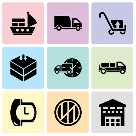 Set Of 9 simple editable icons such as Boxes piles sto inside a garage for delivery, Wood package box of square shape for delivery, Phone auricular and a clock, Delivery truck with packages behind,