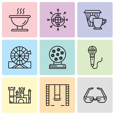 Set Of 9 simple editable icons such as 3d glasses, Swings, Castle, Microphone, Magic ball, Wheel, Coffee, Disco ball, Bbq, can be used for mobile, web UI