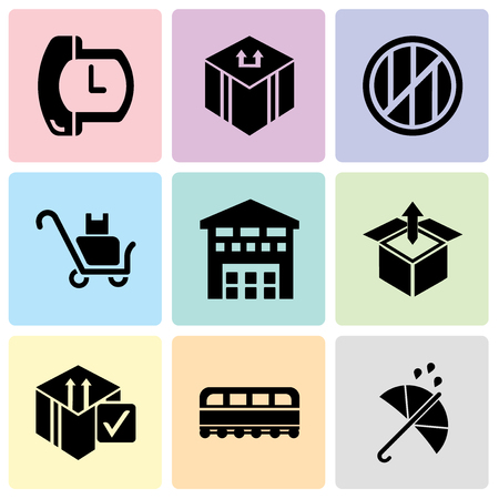 Set Of 9 simple editable icons such as Protection, Train front, Delive box verification, Delivery box package opened with up arrow, Boxes piles sto inside a garage for delivery, Delivery packages on