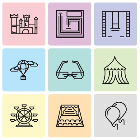 Set Of simple editable icons such as Balloons, Stage, Ferris wheel, Tent, 3d glasses, Hot air balloon, Swings, Board game, Castle, can be used for mobile, web UI