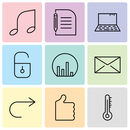 Set Of 9 simple editable icons such as Mercury thermometer, Thumb up, Arrow pointing to right, Closed envelope, Bar chart, Locked padlock, Laptop, Piece of paper and pencil, Musical note, can be used Ilustração