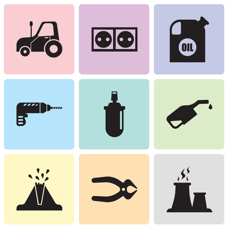 Set Of simple editable icons such as fabric steam, nipper, volcano, pump, gas can, drill, oil container, socket, autotruck, can be used for mobile, web UI