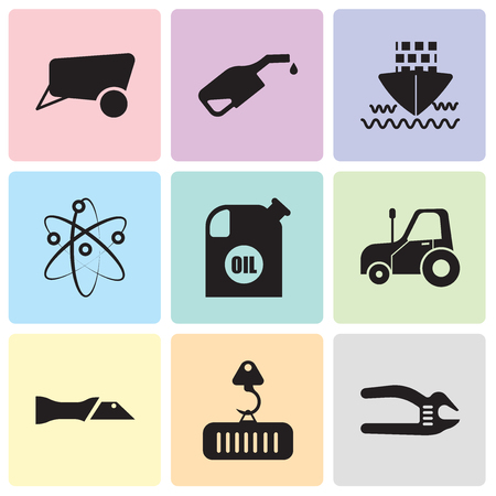 Set Of 9 simple editable icons such as adjustable spanner, crane with load, knife, autotruck, oil container, Chemical, ship, pump, dray, can be used for mobile, web UI